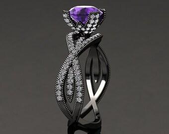 Amethyst Engagement Ring Amethyst Ring 14k or 18k Black Gold SW4PUBK