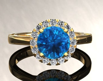 Blue Topaz Halo Engagement Ring Blue Topaz Ring 14k or 18k Yellow Gold Matching Wedding Band Available W6BU2Y