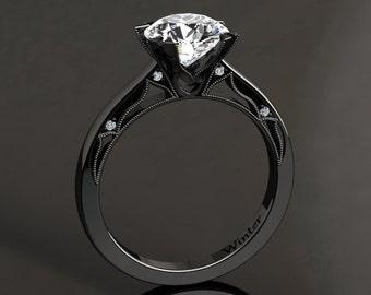 Moissanite Engagement Ring Moissanite Ring 14k or 18k Black Gold Matching Wedding Band Available W22MOISBK