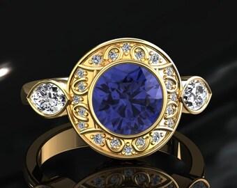 Tanzanite Halo Engagement Ring Tanzanite Ring 14k or 18k Yellow Gold W19TANZY