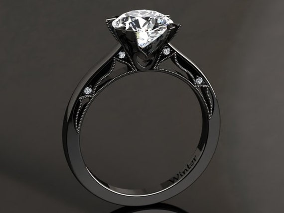 moissanite engagement ring moissanite ring 14k or 18k black