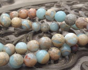 8mm African Opal Jasper Round Beads, full strand 50 pcs
