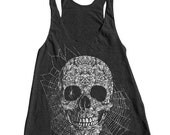 SUMMER SALE Halloween Skull Spider Women Tank Top American Apparel Triblend Racerback Tank Top Hand Screen Printed
