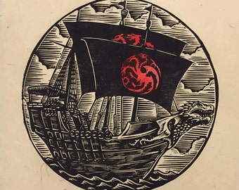 Targaryen Ship Block Print