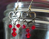 Silver Hearts with red swarovski crystals earrings, Valentines Day, dangle earrings,
