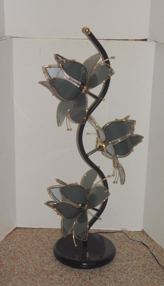 Sale vintage blue lotus flower floor lamp 3 way by for Gold flower floor lamp