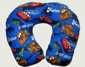Car Seat Pillow, Adult or Child, Travel pillow; Couch pillow, Neck pillow, Disney Cars Print