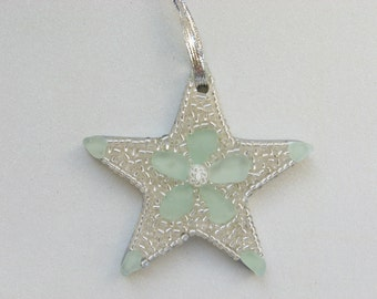 Seafoam Seaglass Star Ornament with Sparkly Beads White Millefiore mosaic Holiday gift