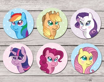 """My Little Pony 1.5"""" Buttons - Mane Six Chibis - My Little Pony: Friendship is Magic"""