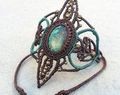 Gothic Queen macrame bracelet with chrysocolla gemstone, disney