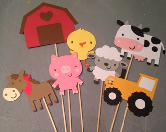 7 pc. Barnyard Centerpiece, Farm Centerpiece, Barnyard party, Barnyard Birthday, Cow, Chick, Pig, Lamb, Horse, Barn, Tractor