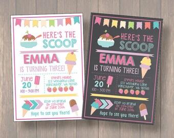 Ice Cream Invitation, Ice Cream Party Invitation, Summer Party, Summer Birthday