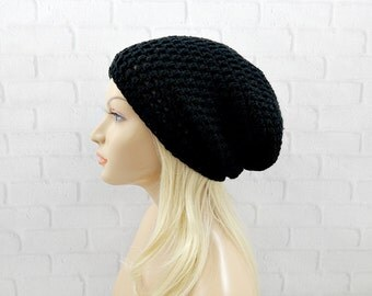 Black Slouchy Beanie, Winter Hat, Crochet Slouchy Hat, Vegan Beanie, Womens Hat, Oversized Hat, Slouch Hat, Black Crochet Beanie
