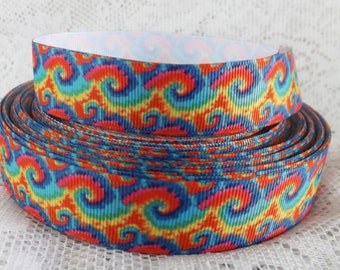 Rainbow ribbon rainbow tie dye ribbon grosgrain ribbon 7/8 Grosgrain ribbon swirl ribbon