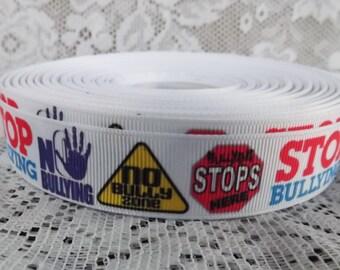 Bullying ribbon No bullying ribbon 7/8 Stop bullying Grosgrain ribbon anti bullying