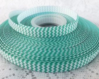 Green Chevron ribbon green ribbon 3/8 green 9mm ribbon
