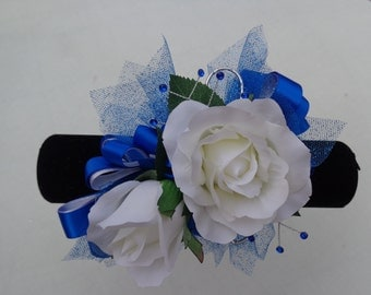 2 Piece wrist corsage and boutonniere in white roses and royal blue ribbon