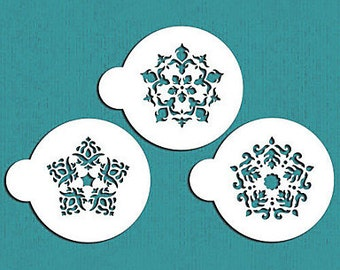 Flower Snowflake Stencil Set - ST-609 - Cookies, Cupcakes & Cakes Design Decorations Winter Snow Cold Snowflakes Ornaments Gem Jeweled