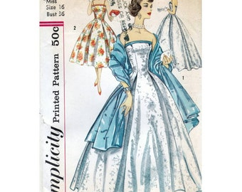 50s Simplicity dress sewing pattern 2404, Bust 36 inches, pattern to make evening gown, wedding dress, off shoulder dress, factory folded