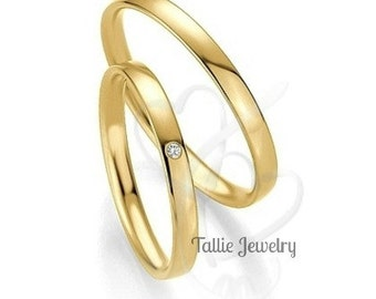 His and Hers Wedding Bands,10K Yellow Gold Diamond Wedding Rings,Womens Wedding Bands,Matching Wedding Rings,Mens Wedding Bands