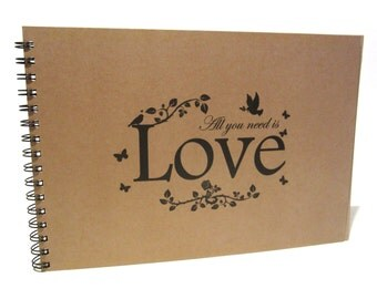 A5 A4 All You Need is Love, Scrapbook, Card Pages, Photo Album, Keepsake, Kraft