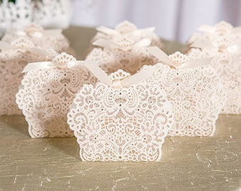 Lace Favor Boxes - GOLD EMBOSSING - Package of 10