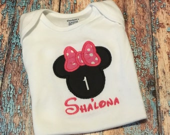 Minnie Mouse Bow Shirt.  Custom Made.  You choose colors to match theme.  Fast Shipping.