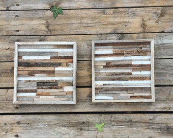 Modern stone and reclaimed wood wall art, rustic wood sign, framed wall art