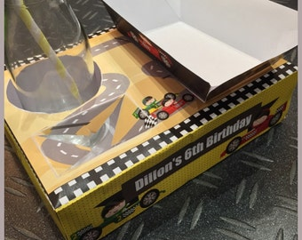 Racing Car / Racer / Go Kart Themed Party Food Lunch Box (DIY/Printable by you) with Food Tray - Dimensions & product details in description