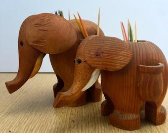 Vintage Pair of Papel Teak Toothpick Elephants