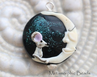 Man in the Moon and Mouse,  Lampwork Pendant