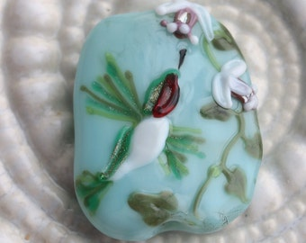 Lampwork focal Beads - Ruby-throated Hummingbird - Handmade Glass beads