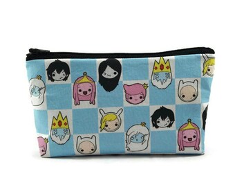 Adventure Time Zipper Pouch,  Makeup Bag, Tampon Case, Toiletry Bag, cartoon Cosmetic Bag,  Zipper Wallet, Gadget Bag, Glam Bag