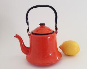 Vintage Orange Enamel Teapot - Asaki - Made in Japan