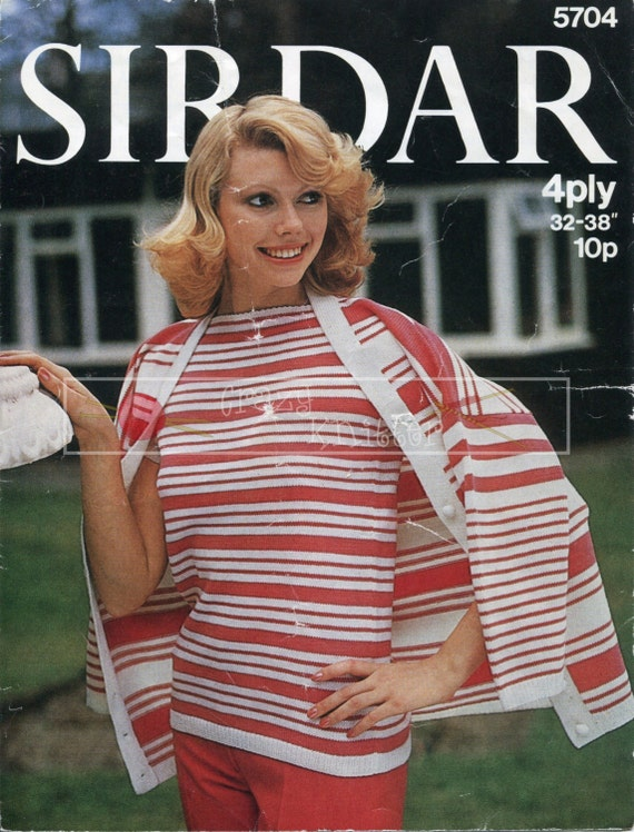 """Lady's Twin Set 32-38"""" 4-ply Sirdar 5704 Vintage Knitting Pattern PDF instant download"""