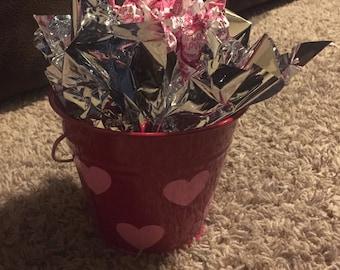 Peesonalized metal bucket bouquet