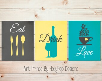 Teal Gray Kitchen Decor Modern Kitchen Print Set Eat Drink Love Fork Spoon Knife Dining Room
