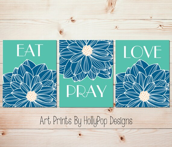 Modern Kitchen Wall Decor Eat Pray Love Trio By: Floral Burst Prints Kitchen Wall Art Modern Kitchen Decor Eat