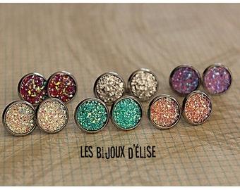 Dome Druzy Earrings Stud Faux Druzy Earrings Shiny Faux Druzy Bridesmaid Gift - 14mm  - Stainless Steel  (DRU03)