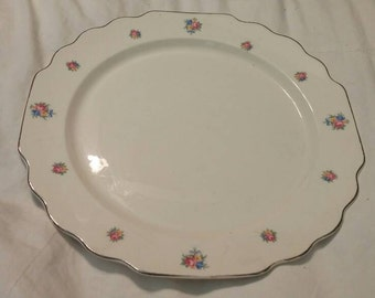 On Sale W S George White with Platinum Rim Square 10.25 inch Serving Plate Vintage China with Pink, Yellow and Blue Roses