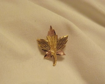 10k Yellow Gold Tri-Color Vintage Gold Leaf Brooch-On Sale Now!