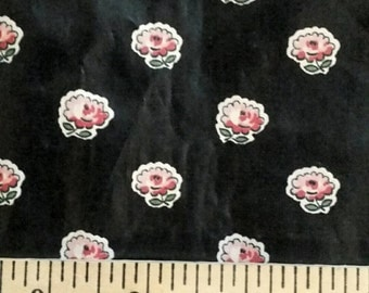 "Vintage Polished Cotton Fabric ~ Pink Roses on Black ~ 36"" wide ~ 2 2/3 yards long"