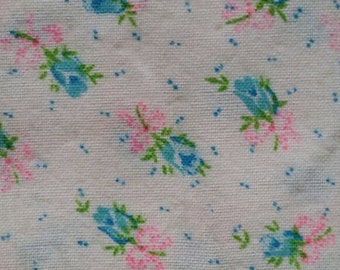 """Vintage Cotton Flannel ~ ~ Turquoise, Bright Pink, Ivory ~ Floral Roses ~ 2 2/3 yards long 43"""" wide"""