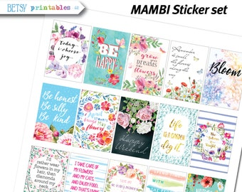 MAMBI Planner stickers Printable Stickers, floral planner stickers, quotes stickers, Happy Planner, inspirational, flowers -  441