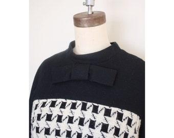 1960s Houndstooth Wool Winter Dress