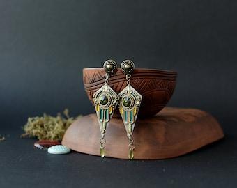 Art Deco Swarovski green earrings, Egyptian green Swarovski earrings ethnic, gothic filigree earrings, boho earrings with green Swarovski