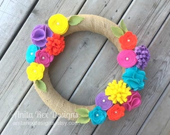 Summer Wreath, Felt Flower Wreath, Pink Aqua Yellow Purple Orange Felt Flower Wreath, Summer Decor