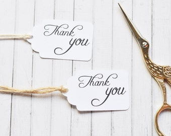 Thank You Scalloped Gift Tag, Wedding Favor Gift Tags, Classy Packaging Tags Pack of 10, 20, 50, 100 or custom sized packs available