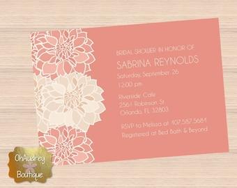 Coral Bridal Shower Invitation