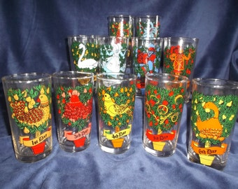 12 Days of Christmas REPLACEMENT Drinking Glass Tumblers